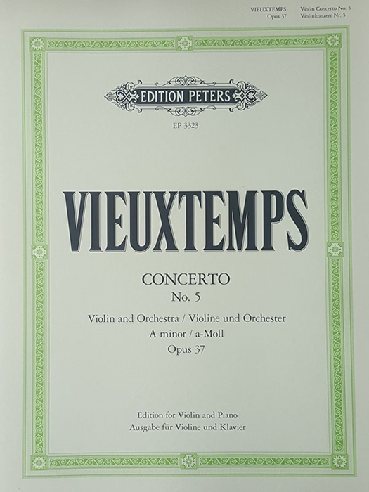 Vieuxtemps - Concerto Nr. 5 for Violin and Orchestra Op.37 A minor (piano reduction)