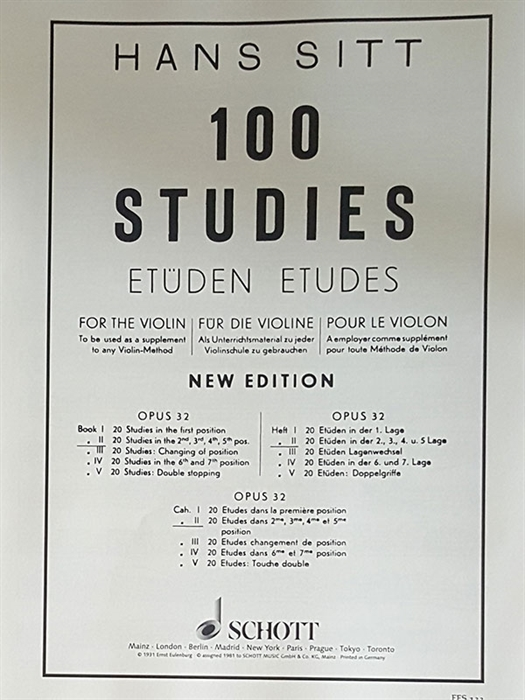 Hans Sitt - 100 studies - book 2 (20 studies in the 2nd, 3rd, 4th, 5th position)